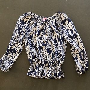 Lilly Pulitzer navy blouse S NWOT